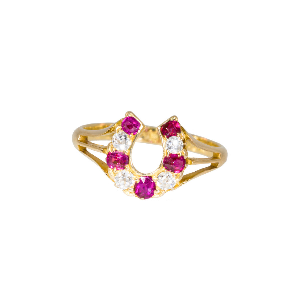 Antique Ruby and Diamond Horseshoe Ring