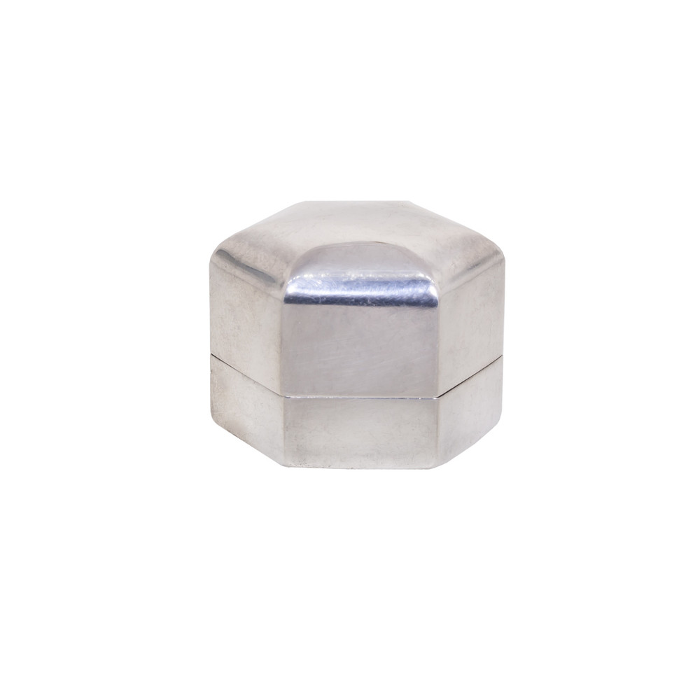 Art Deco Silver Ring Box in Hexagon Shape