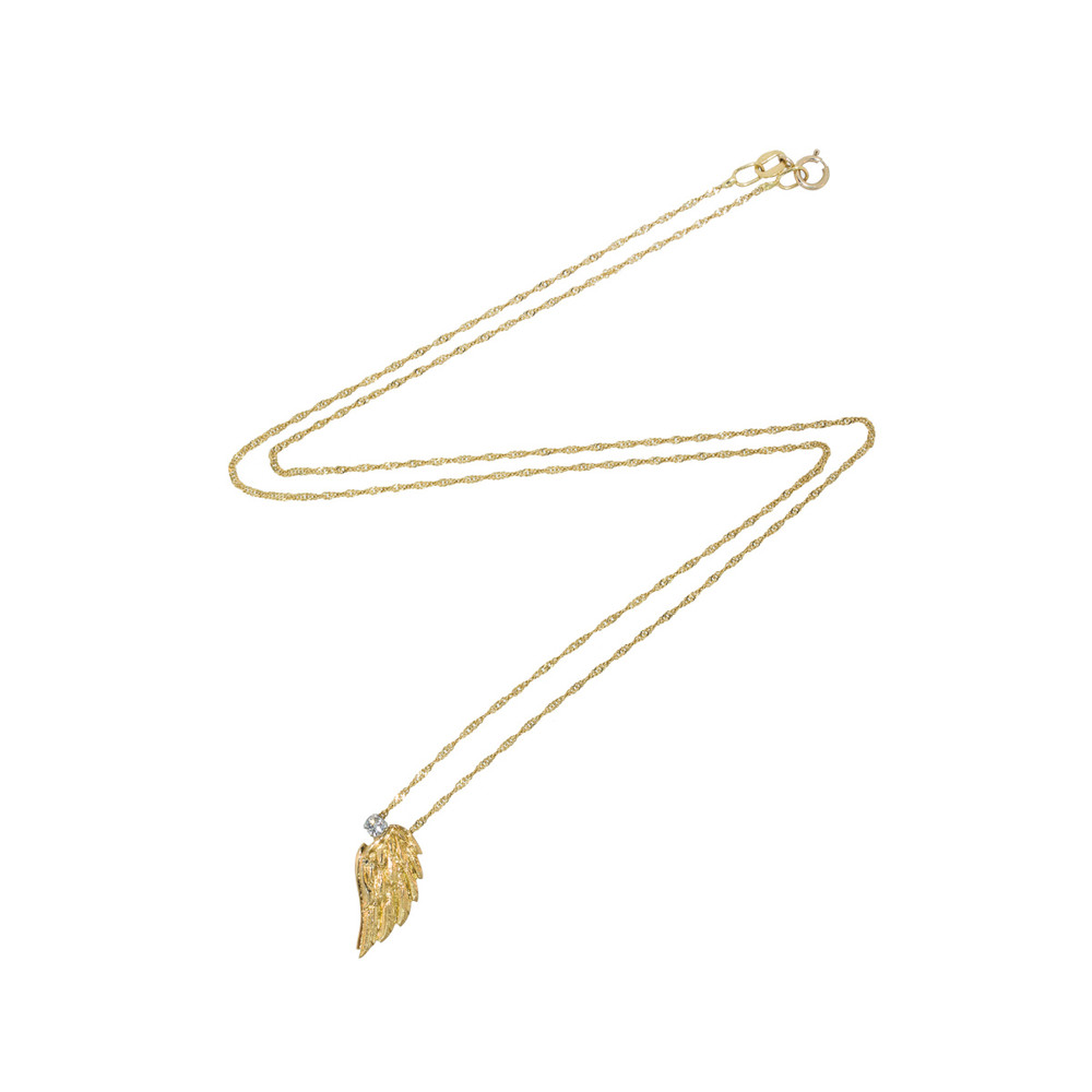 18 kt gold wing charm on 18 kt gold chain