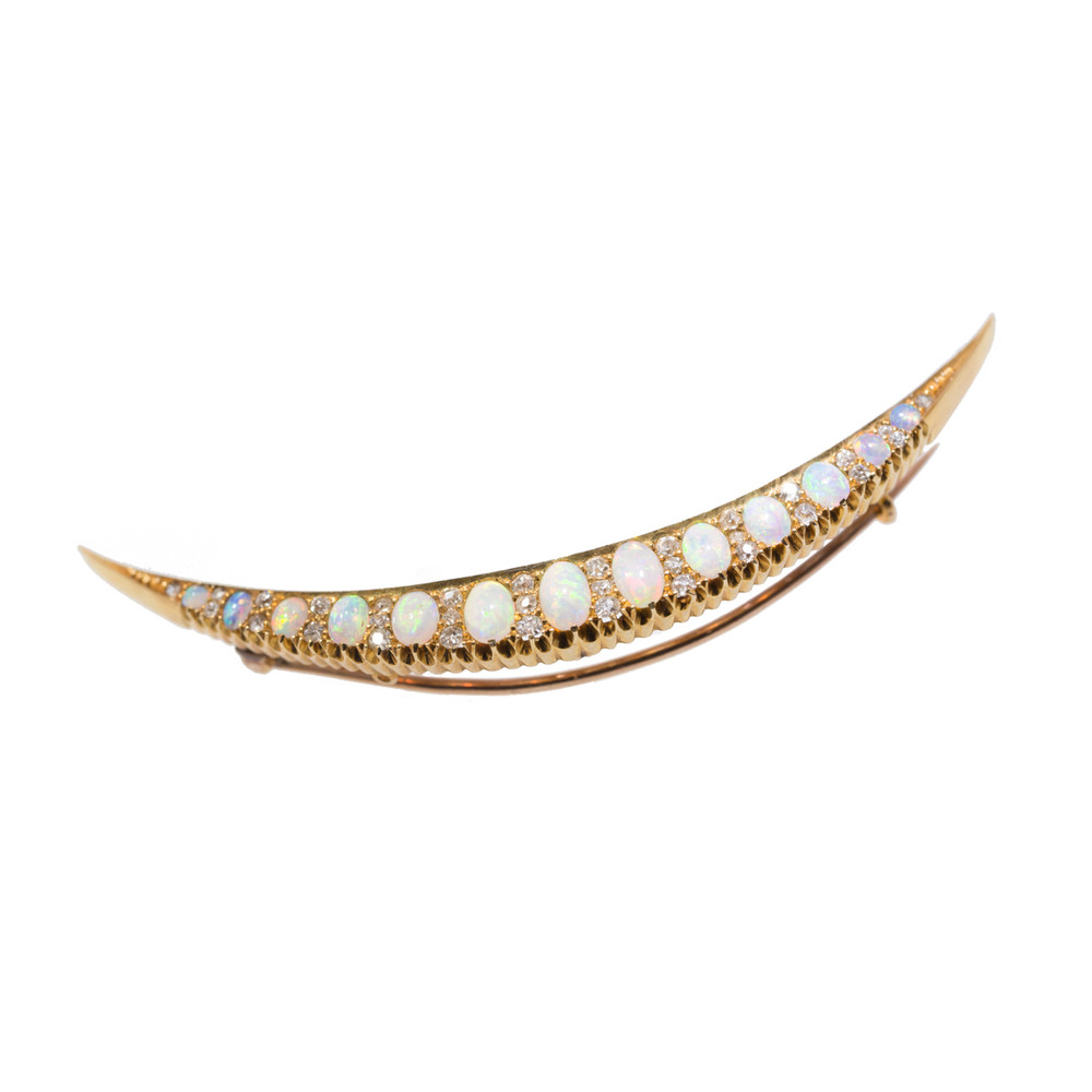 Antique Crescent Brooch with Opals and Diamonds