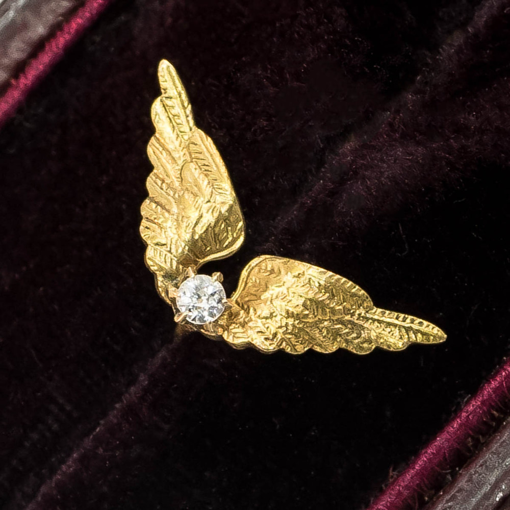 Single Stud Gold Wings Earring with Diamond, Victorian Era