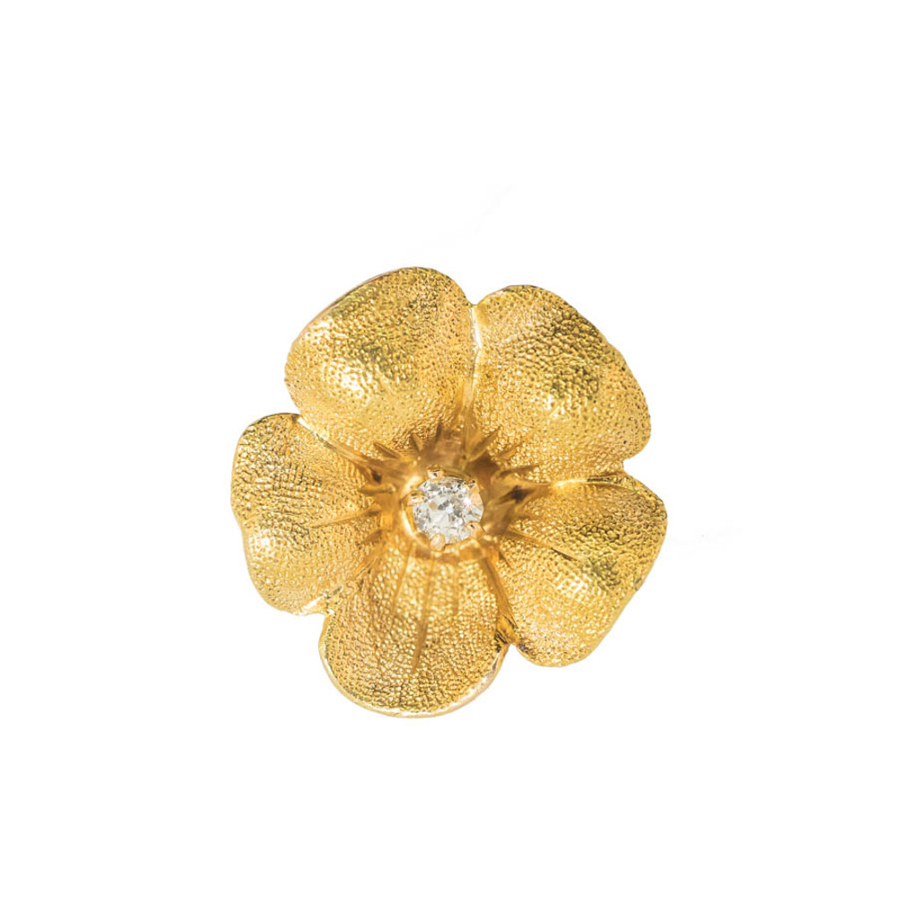 Antique Victorian Gold Flower Earring