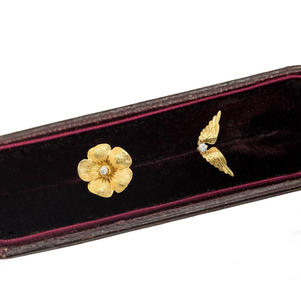 14 Kt Gold Flower and Diamond Single Stud Earring