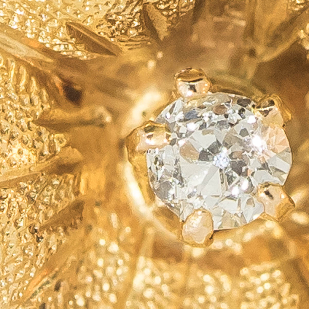 Old Cut Diamond in Apple Blossom Earring