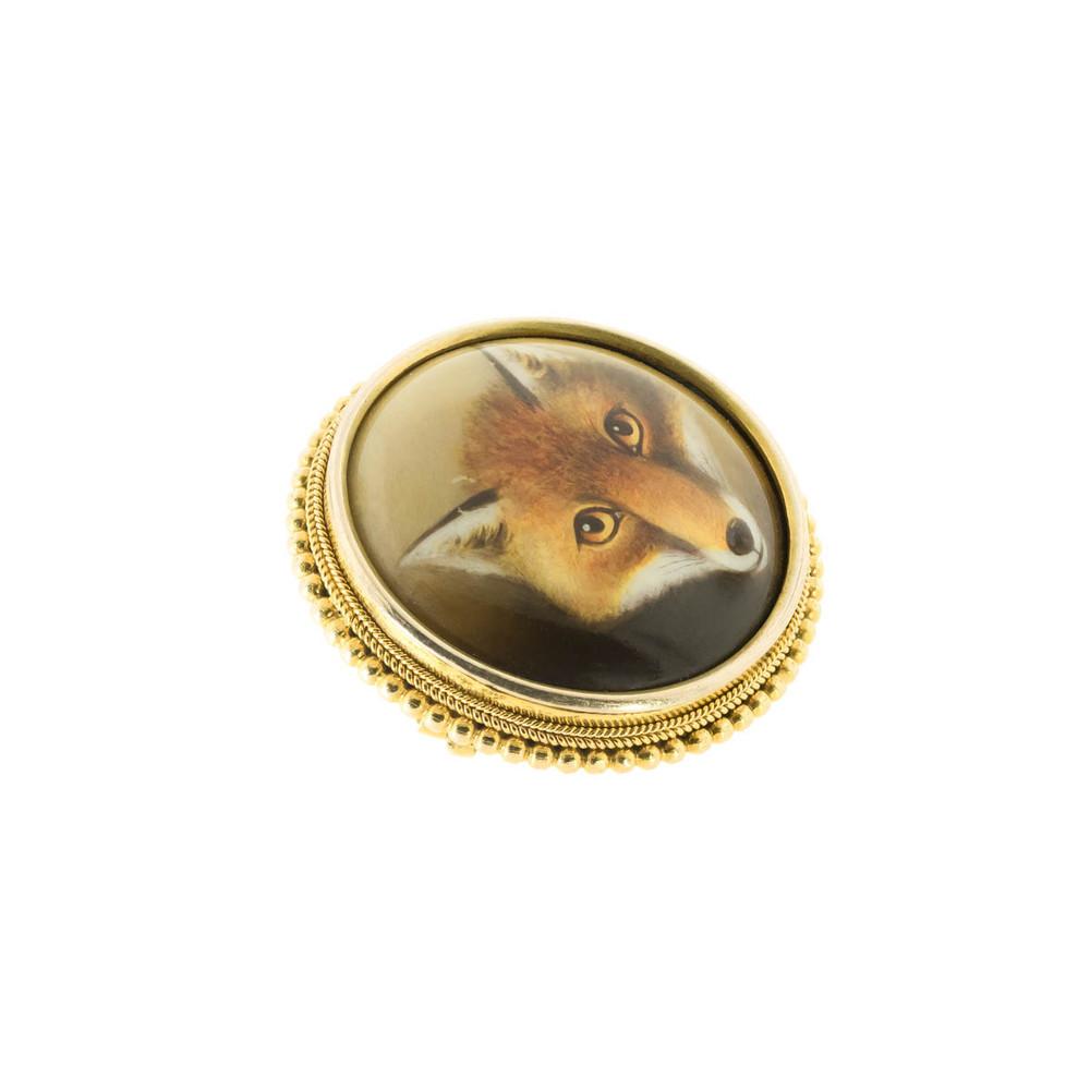 An Antique Enamel Fox Head Brooch
