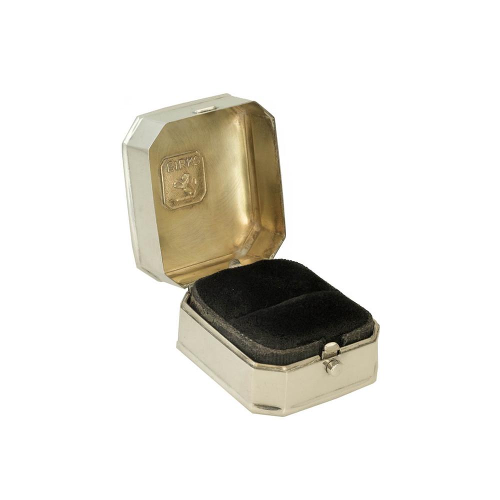 Velvet Lined Vintage Birks Ring Box in Sterling Silver