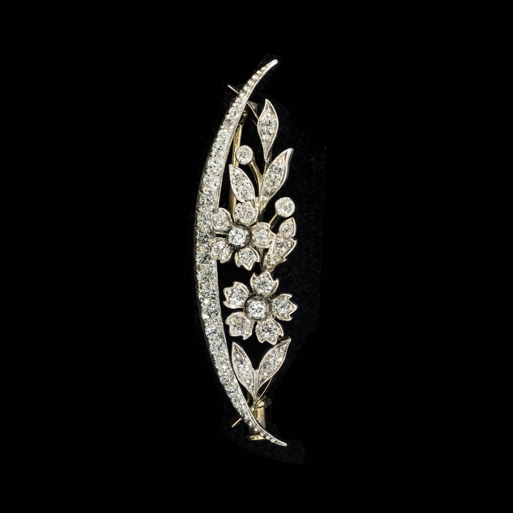 Victorian Diamond Brooch, Crescent Moon and Flowers