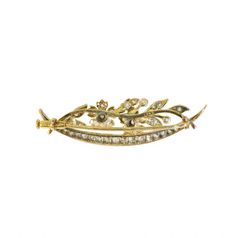 Reverse of an Antique Crescent Moon Brooch in 14 Ct Gold set with Diamonds