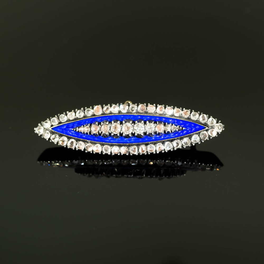 Rose Cut Diamond and Blue Enamel Brooch