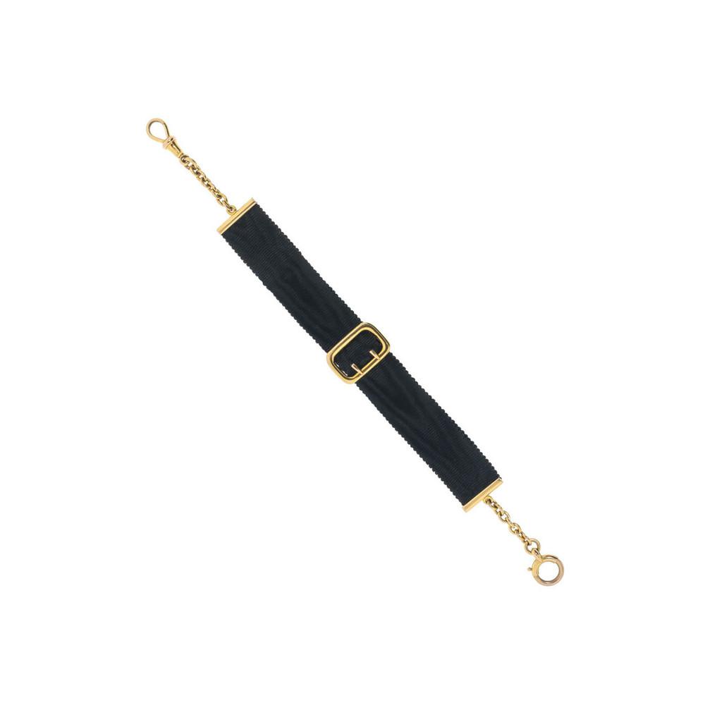 Antique Black Ribbon Watch Fob Bracelet with Buckle Slide
