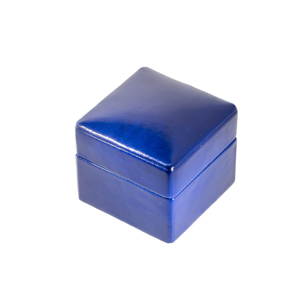 Leather and Suede Blue Leather Ring Box