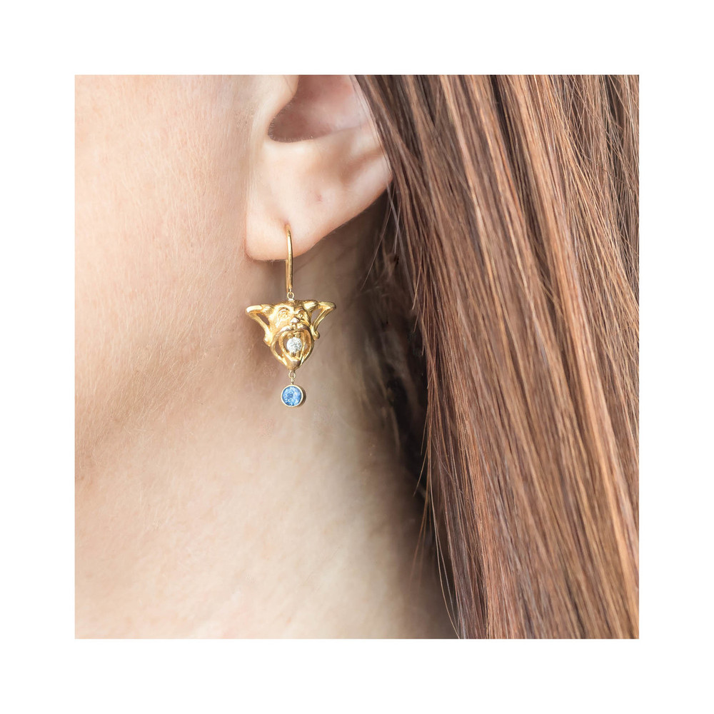 Sapphire and diamond devil earrings
