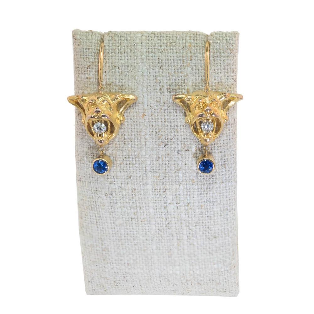 Antique gold diamond and sapphire gargoyle earrings