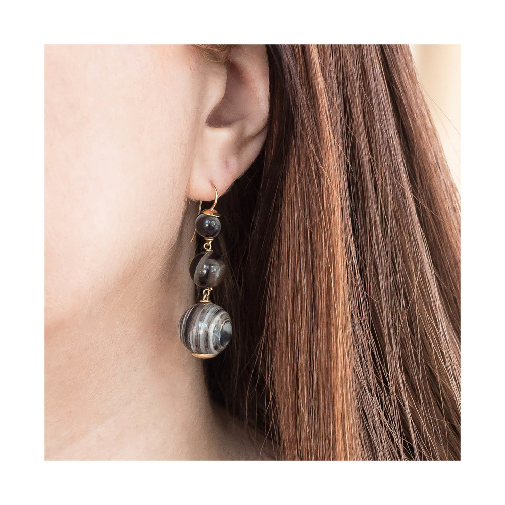 Antique Agate Drop Earrings