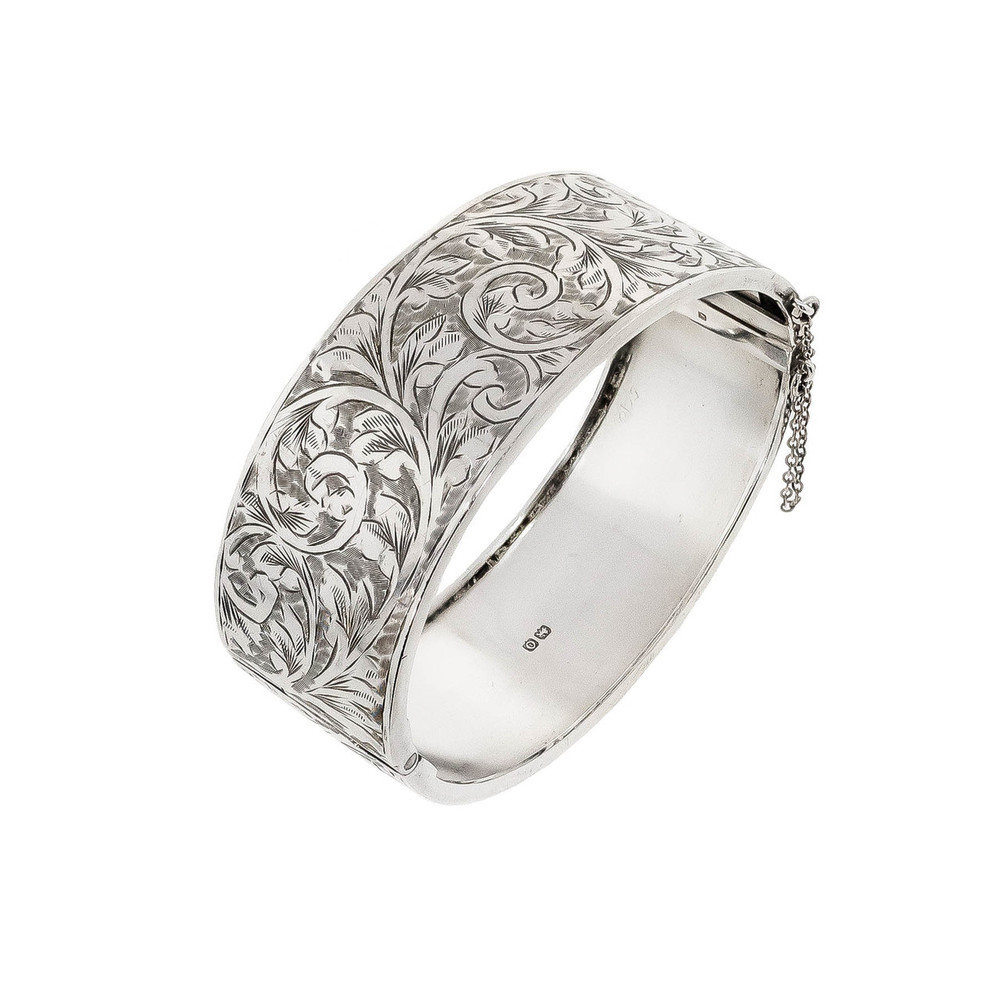 Antique English Sterling Silver Bangle