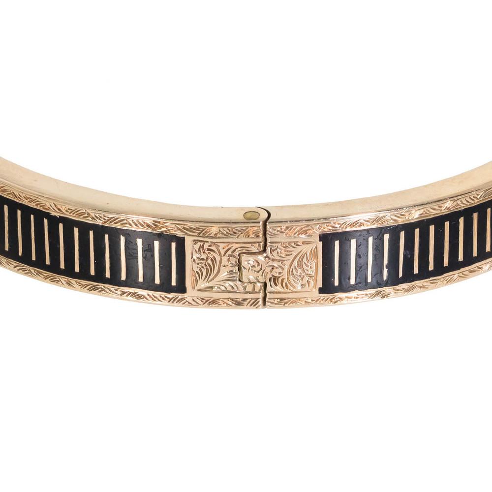 Striped enamel and gold antique bangle bracelets