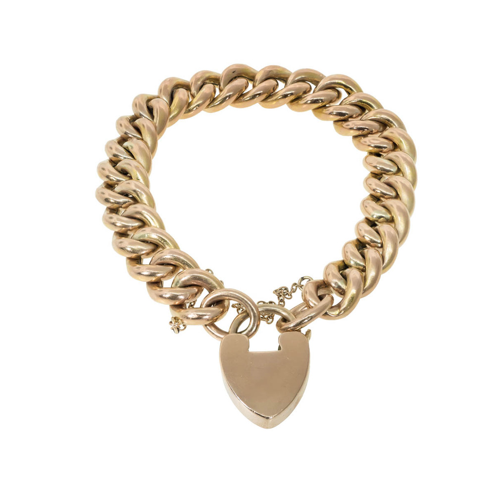 Edwardian Gold Link Bracelet with Heart Lock