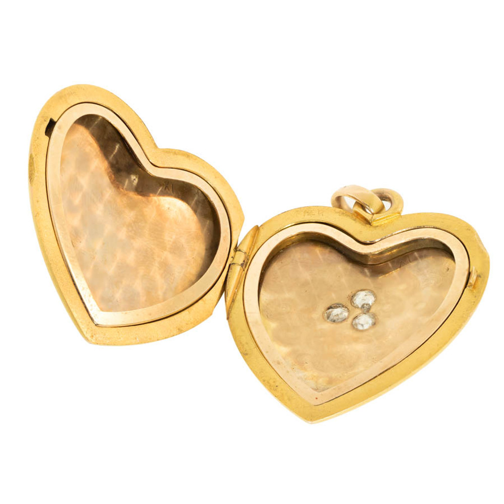 Victorian Gold Heart Locket with Old Cut Diamonds