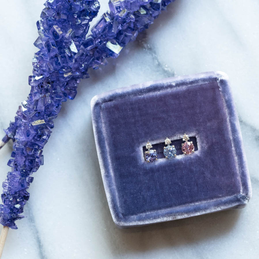 Candy Colored Sapphire and Diamond Single Stud Earrings