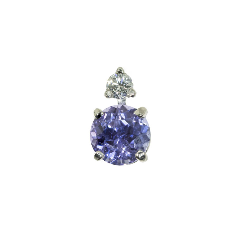 Lavender Purple Sapphire and Diamond Earring Stud