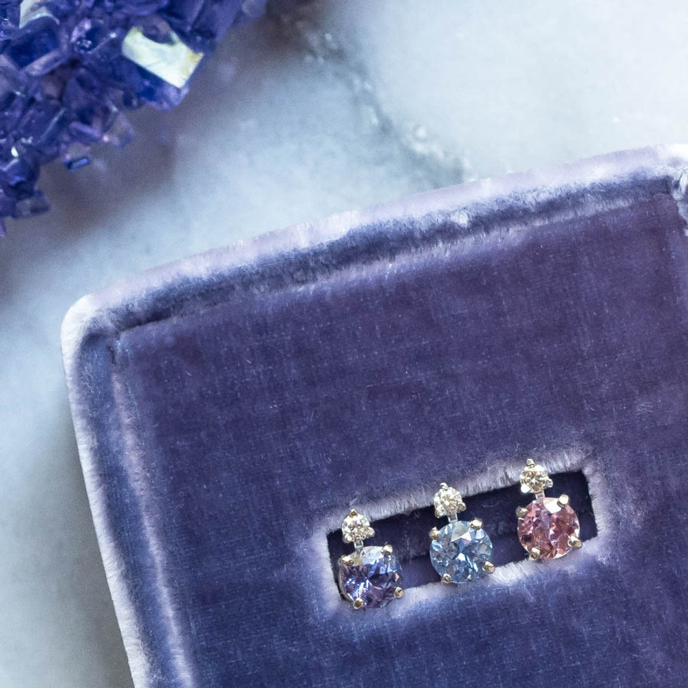 Pink, Lavender and Blue Sapphire and Diamond Earring Studs, Limited Edition Set