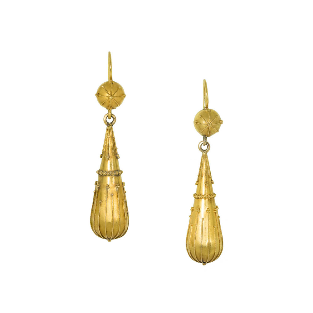 Antique Estruscan Revival Gold Drop Earrings
