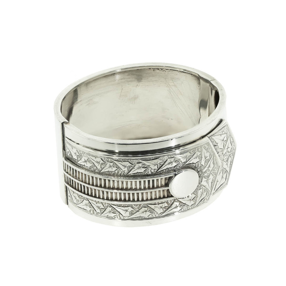 Antique Silver Bangle with Buttoned Shirt Cuff Motif