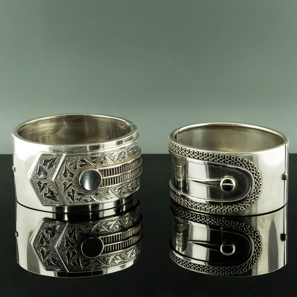 Victorian Antique Silver and Bangle Buttoned Shirt Cuff Design