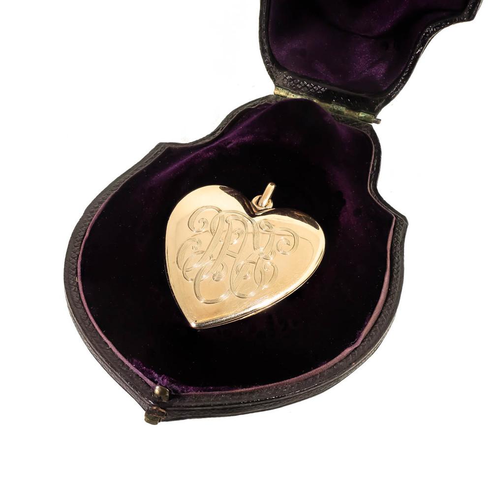 Antique Heart Locket with Monogram KAC or Monogram KC