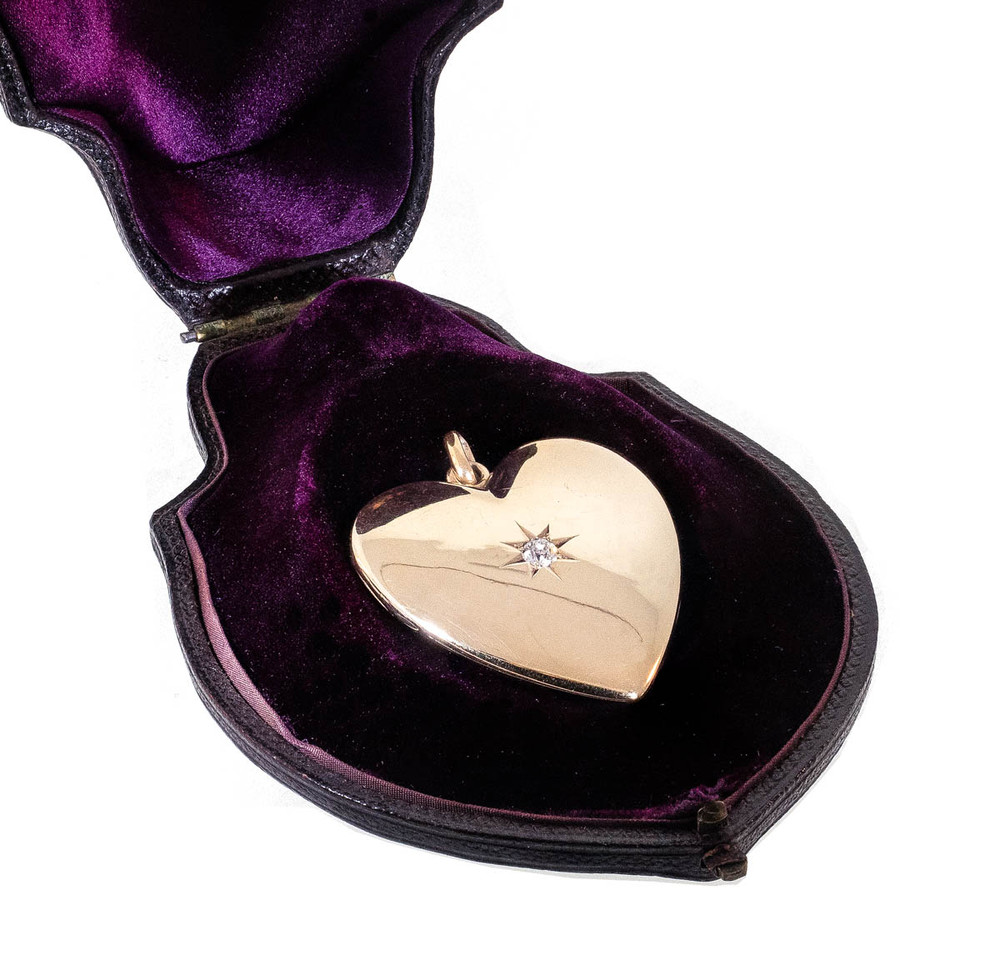 Large Antique Gold Heart Locket with Diamond