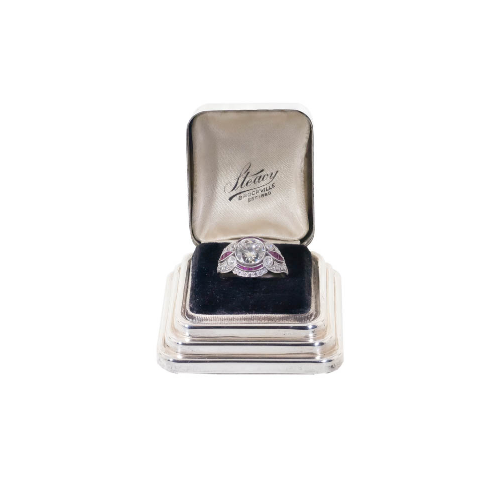 Vintage Engagement Ring displayed in vintage sterling silver ring box, Art Deco period