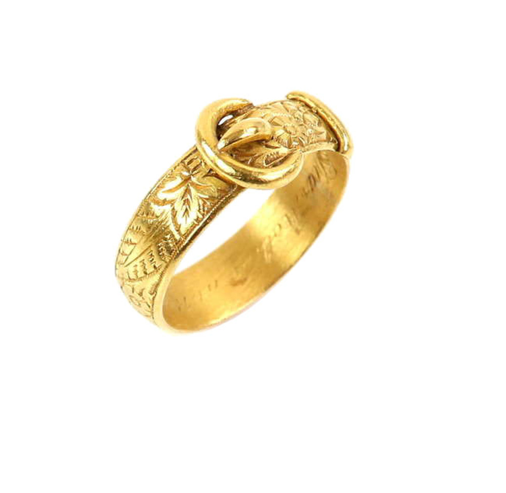 Victorian buckle ring, 22 ct, engraved