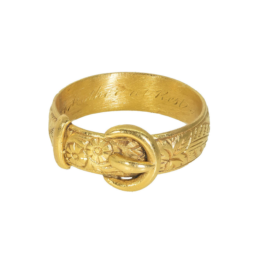 Gold Buckle Ring, 19th C. Hallmarked 22 ct 1874