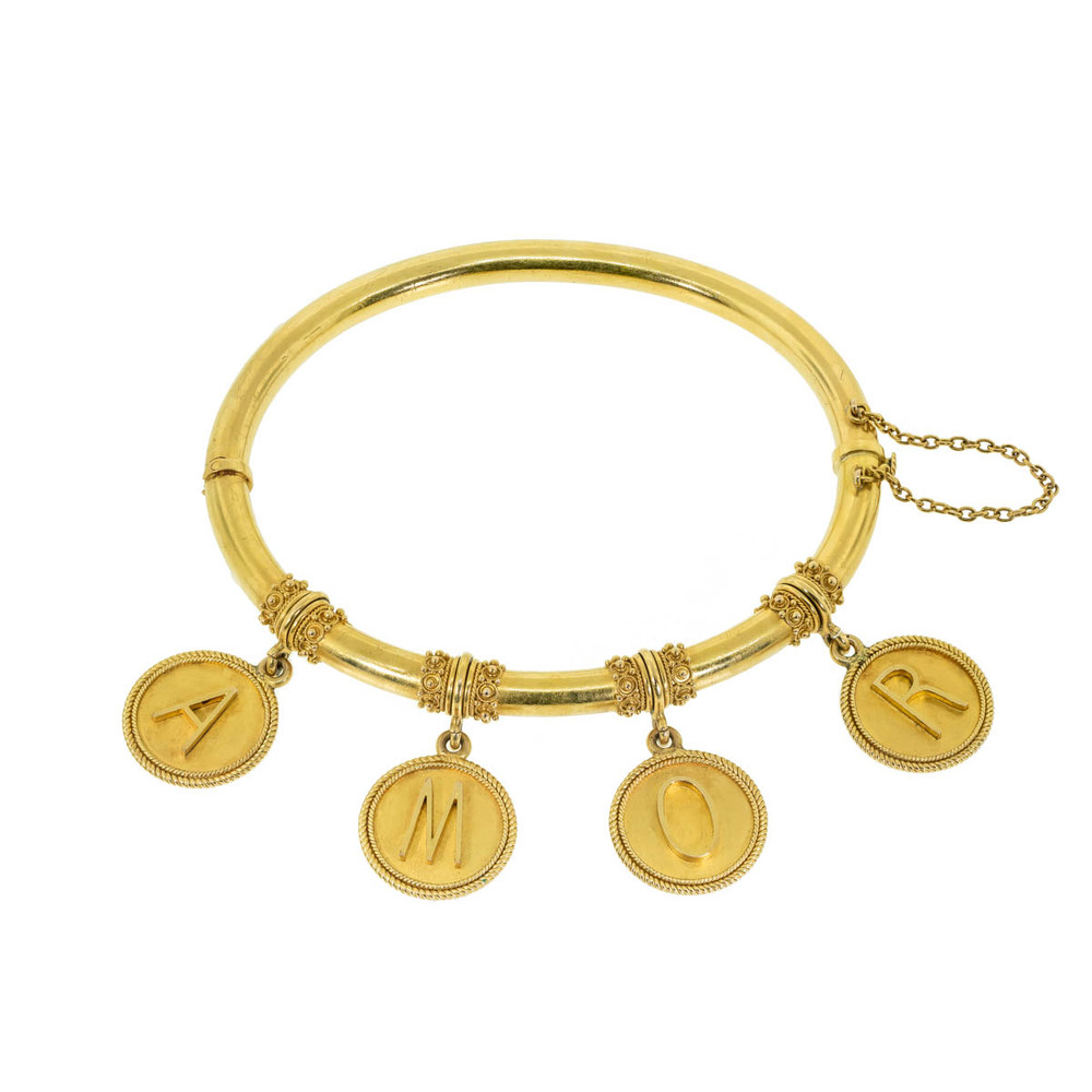 Grand Tour Jewelry, Antique Italian 18 Kt Gold Bangle Bracelet with ROMA Medallions