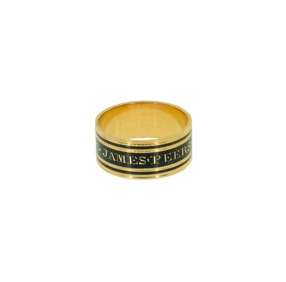 Georgian mourning ring band in black enamel and 18 ct gold
