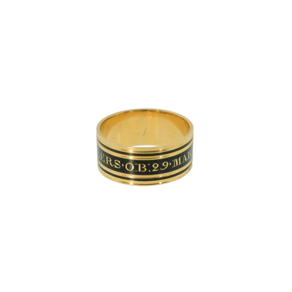 Antique mourning ring, Georgian, George III black enamel 18 ct gold