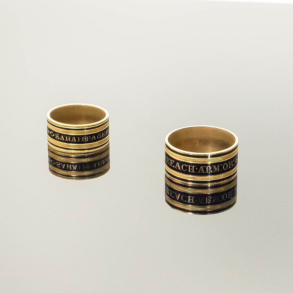 Antique Georgian enamel mourning rings in excellent condition