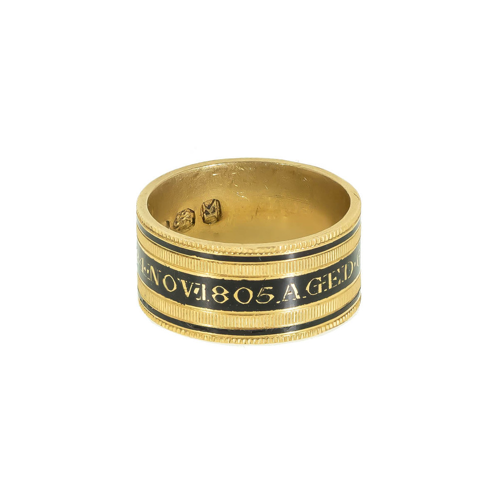 Antique mourning ring, memorial ring in 20 ct. gold