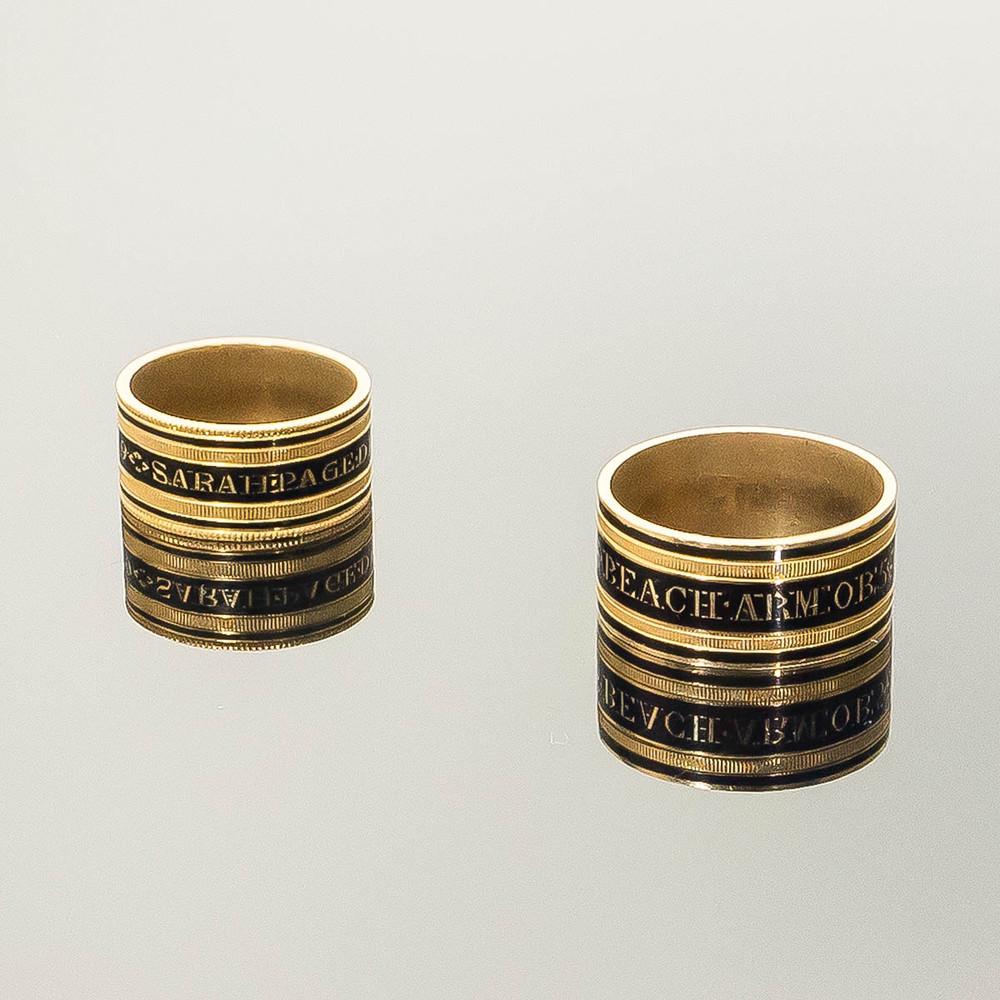 Antique mourning rings, memorial rings Georgian period enamel and gold