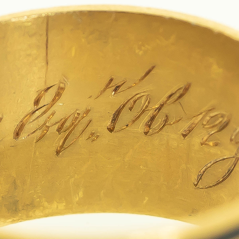 Inscription on Georgian Mourning Ring for George Ranking London England