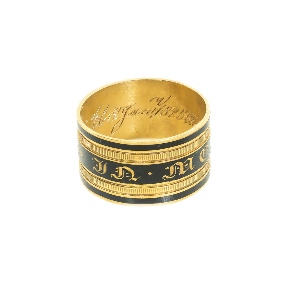 Antique Memorial Ring, Enamel and Gold, Georgian