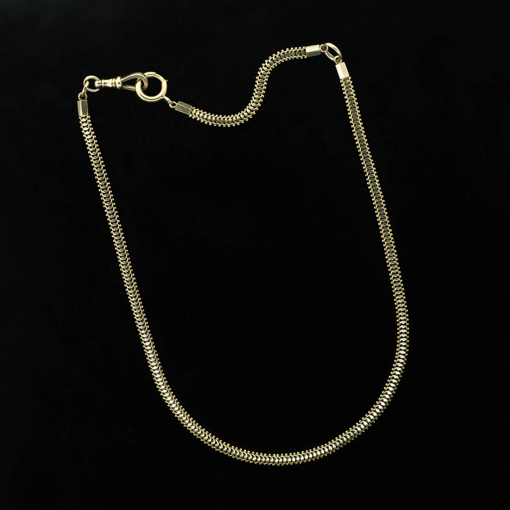 antique gold snake chain necklace, 10K