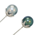 Pale Grey and Peacock Blue Tahitian Pearl Drop Earrings in White Gold