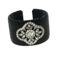 Black Stingray Cuff with Antique Paste Slides
