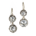 Dangling Antique Paste Earrings, Collet Set in Silver