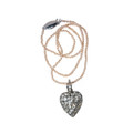 Antique Heart Pendant on Pink Pearl Necklace