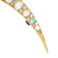 Edwardian Opal Crescent Brooch with Old Mine Cut Diamonds