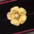 Antique Gold and Diamond Flower Earring, Single Stud Earring