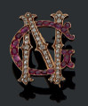 "Antique French Ruby and Diamond Monogram or Initial Pendant ""C and N"""