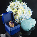 Antique Amethyst Ring in Blue Leather Ring Box, Double Ring Box